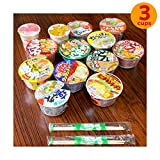 Japanese Cup Noodles Mini Cup Lucky Assortment SET with 2 Chopsticks Ramen Udon Soba Champon (3 Cups)