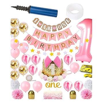 1er cumpleaños Decoraciones 34pcs niña Primeros artículos de ...