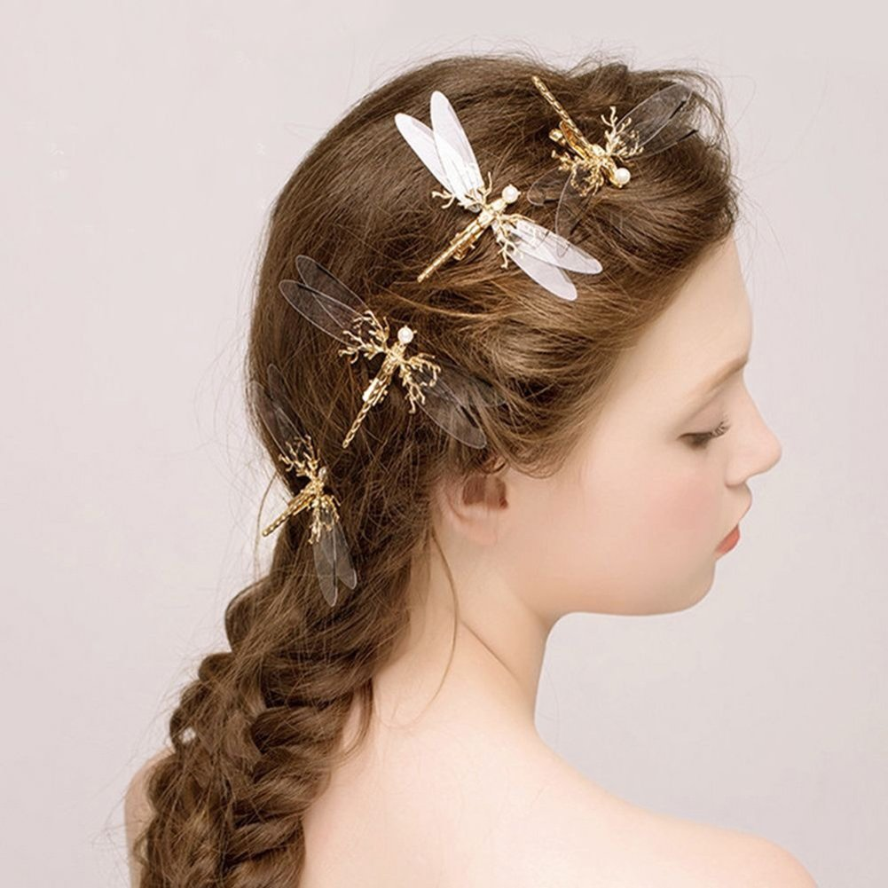 dds5391 Fashion Clear Golden Tone Bead Dragonfly Hair Clip Concord Clip Clamp Clip Accessory Wedding Bridal Jewelry (Golden)