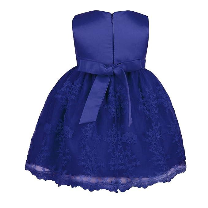 637236352daa3 Alvivi Robe Bapteme Bébé Robe Mariage Princesse Bebe Fille Bowknot Dentelle  Princesse Jupe D été Anniversaire Tutu Danse 6-24 Mois  Amazon.fr   Vêtements et ...