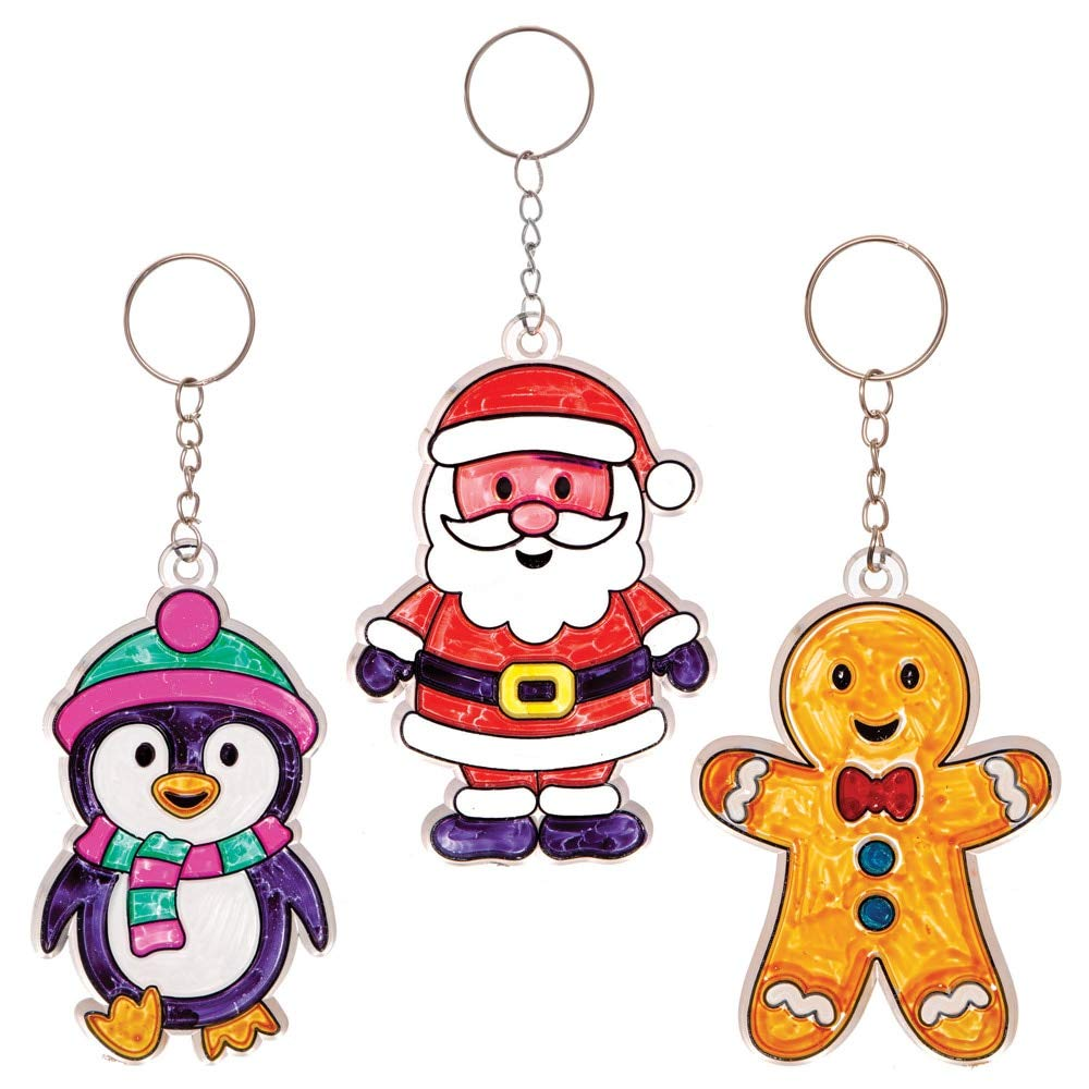 Baker Ross AT295 Christmas Suncatcher Keyrings Kits Festive Arts And Craft Pack Of 6 Assorted