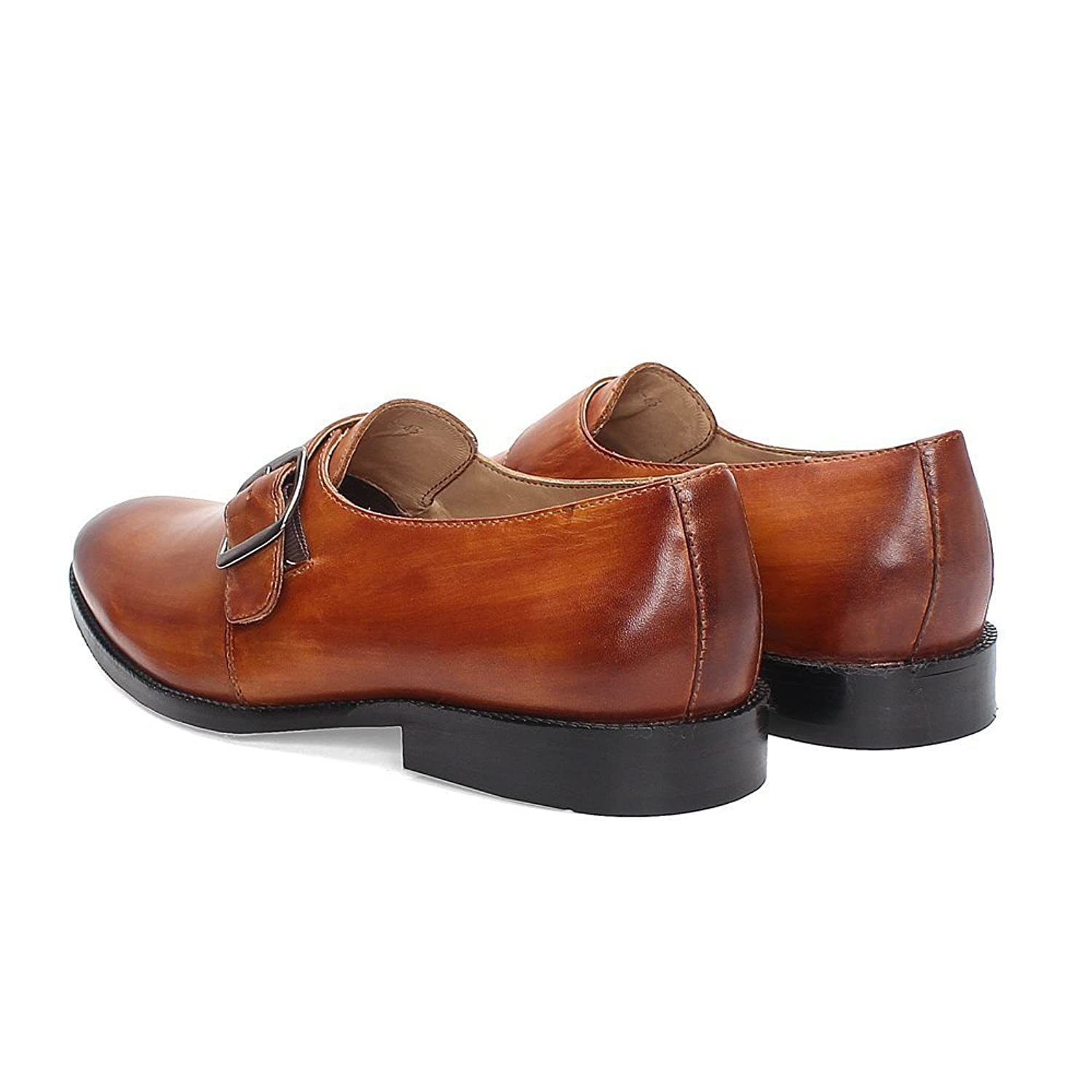 BRUNE Tan Color 100% Genuine Leather Single Monk Strap Shoes For Men  size-10: Buy Online at Low Prices in India - Amazon.in