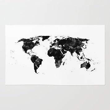 Amazon society6 black watercolor world map rug 3 x 5 society6 black watercolor world map rug 3 gumiabroncs Images