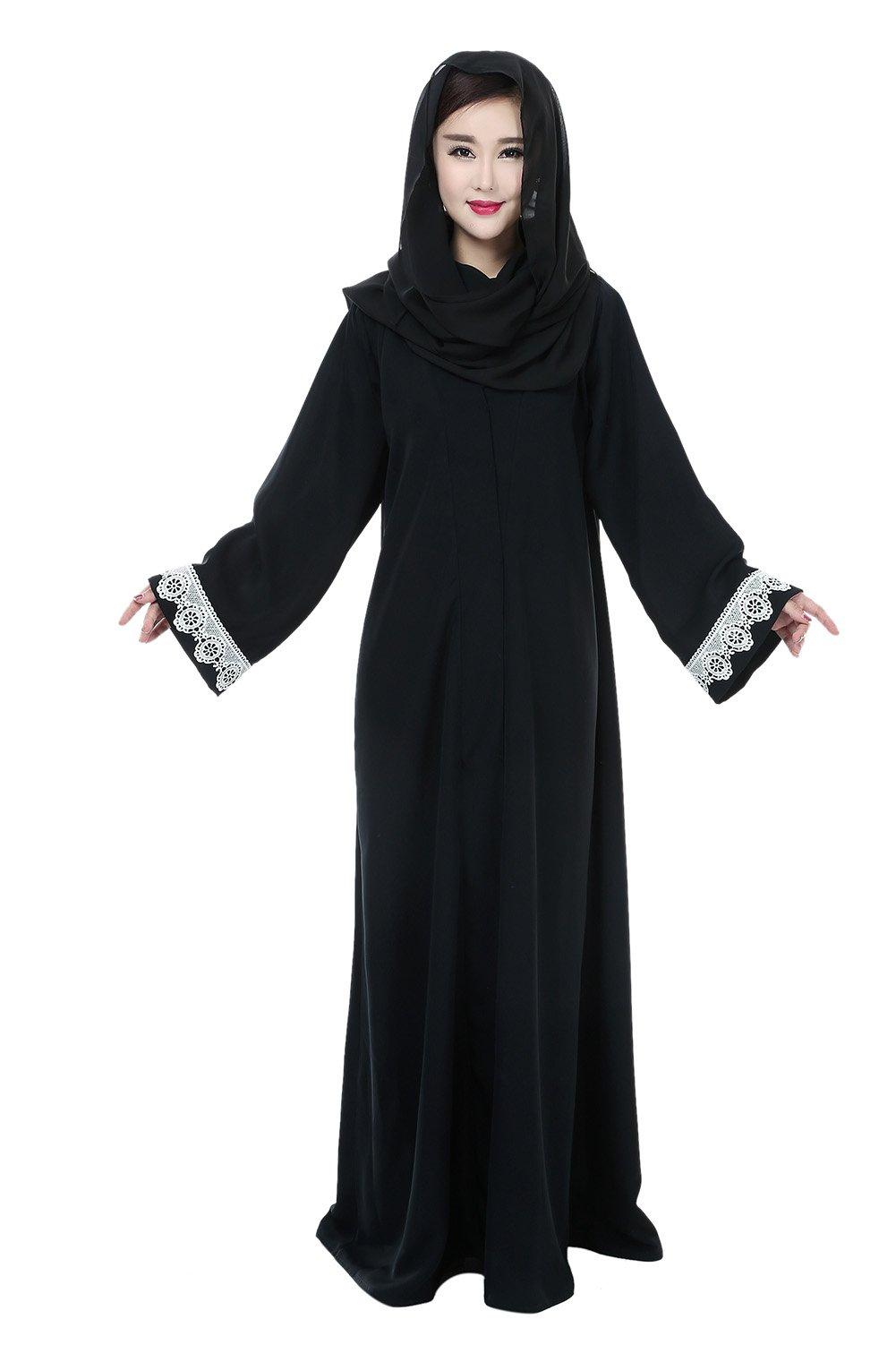 Women Islamic Wear Lace Patchwork Front Open Abaya Jilbabs (M)