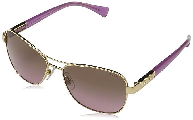RALPH Womens 0RA4119 3211T5 Sunglasses, Gold/Striated Brown/Browngradientpolarized, 57 Ralph Lauren