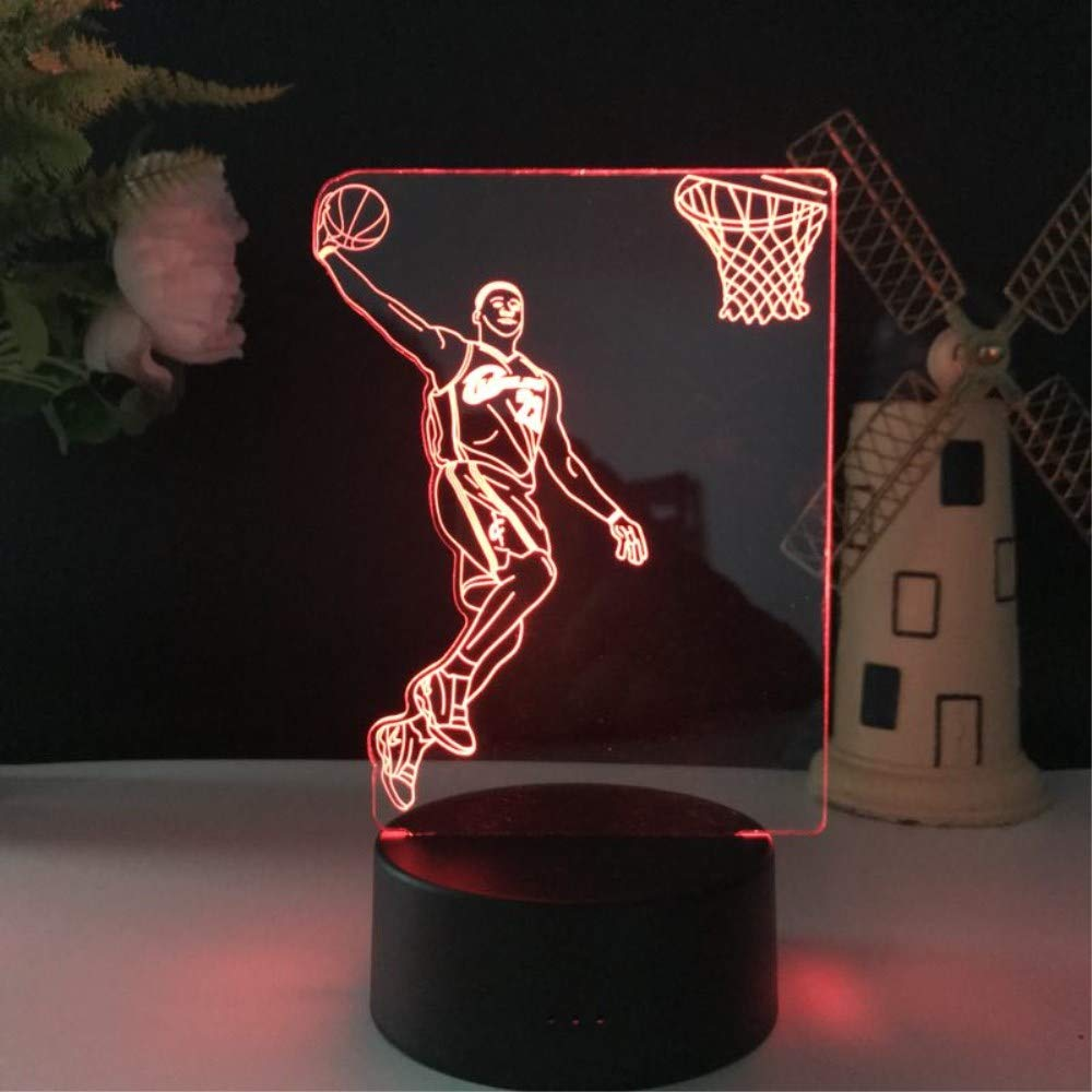 3D Illusion LED Night Light,7 Colors Gradual Changing Touch Switch USB Table Lamp for Holiday Gifts or Home Decorations (7 Colour, Basketball Light)