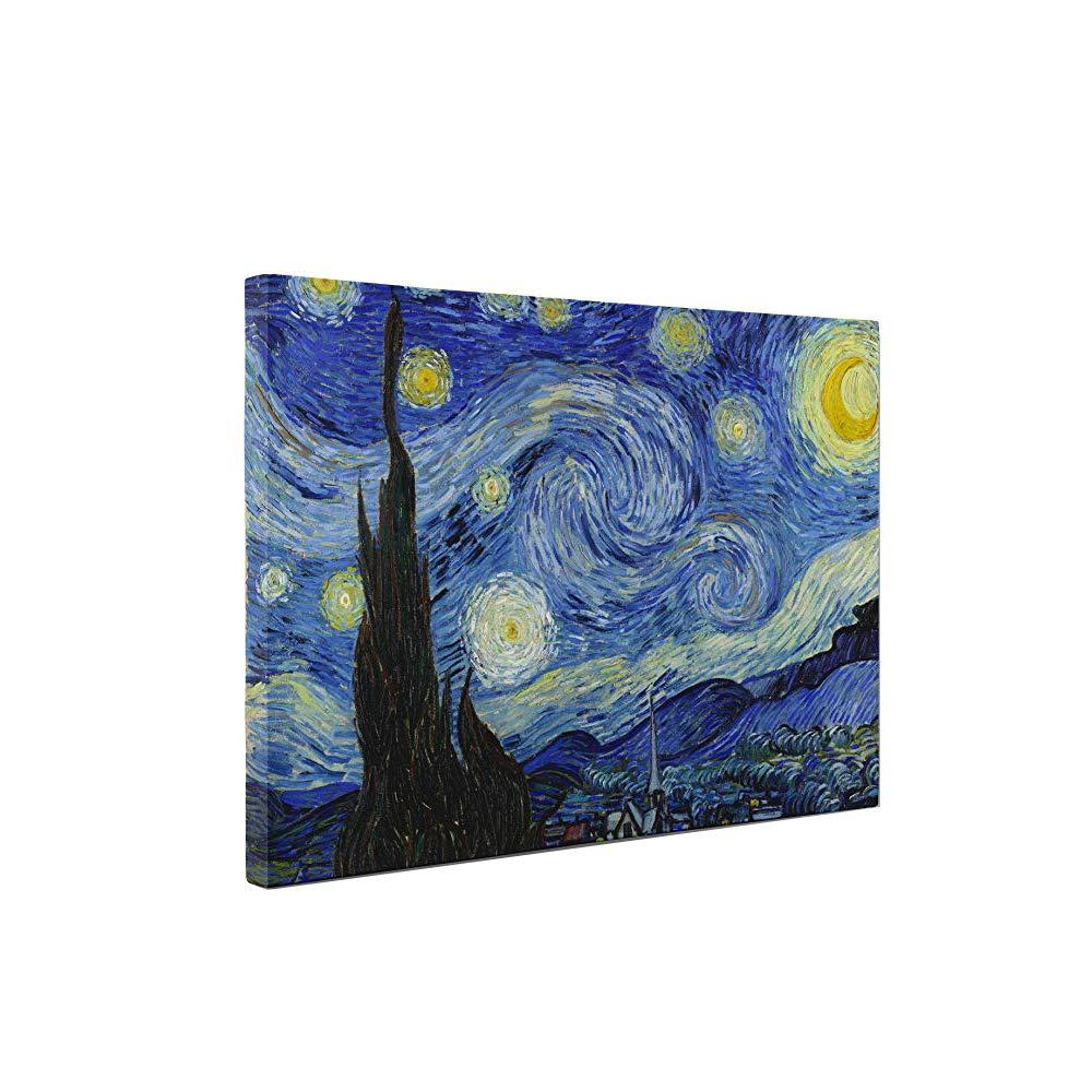 arreda Case 30 cm x 40 cm Riproduzione su Tela Comprende Telaio e Tela camere e salotti Quadro Van Gogh Notte Stellata