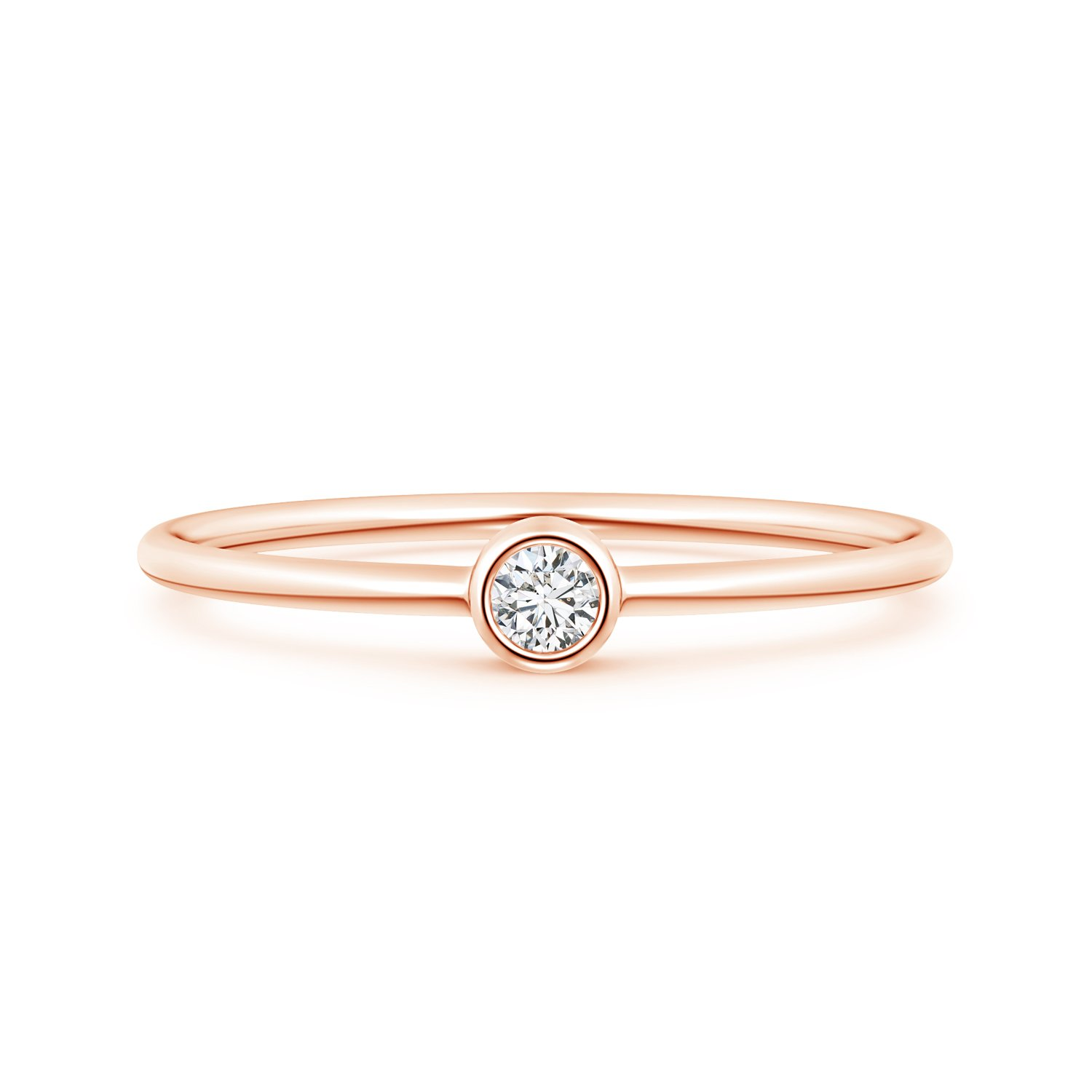 Solitaire Lab Grown Round Diamond Stackable Ring in 14k Rose Gold