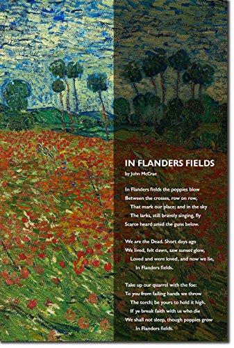 Best Quality Prints John McCrae Poem Print - in Flanders Fields - Van Gogh Poppies - Art Photo Poster Gift - WW1, First World War - Size: 30cm x -