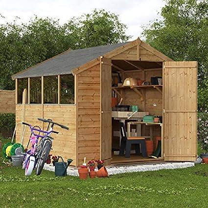 BillyOh - Cobertizo de madera superpuesta con tejado a dos aguas, ventana y puerta doble - 244 x 244 cm: Amazon.es: Jardín