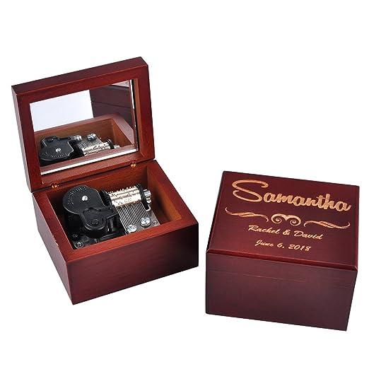 Awerise Personalizado marrón de madera caja de música con ...