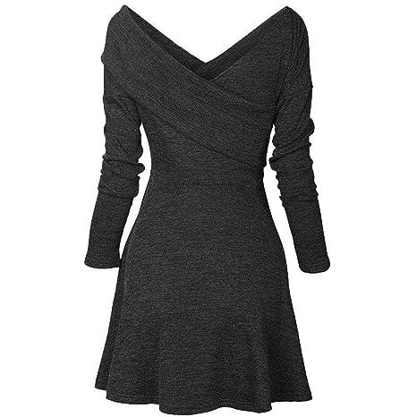 Vestiti da Donna Eleganti Abito Lungo Elegante Donna Abito Tinta Manica  Lunga Mini 71d03733f30