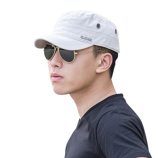 CACUSS Men s Cotton Army Cap Cadet Hat Military Flat Top Adjustable  Baseball Cap(Grey) b34c94e27f62