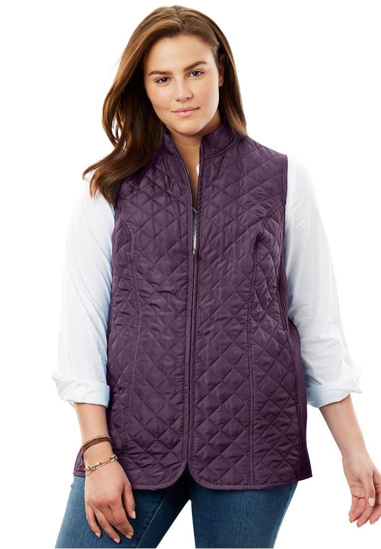 Women's Plus Size Diamond-Quilted Zip Front Vest