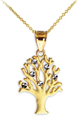 US Jewels And Gems New 14k Yellow Gold /& White Gold Tree of Life Pendant Charm with Necklace