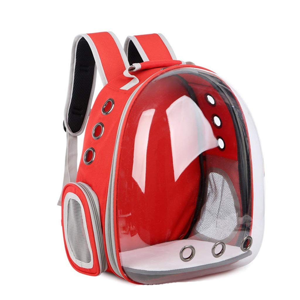 Red YQRYP Pet Backpack 5 colors Portable Pet Cat Carrier Transparent Capsule Breathable Cat Bag Outdoor Travel Dog Cat Backpack Puppy Carrying Cage Walking,Travel,Hiking,Camping (color   Red)