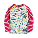 Little Bitty Girl's Autumn And Winter Style Long Sleeve Print T-Shirts Little Girls T-shirt Baby's t-shirt Casual Cotton tshirts (5-6years, Red2 and White)