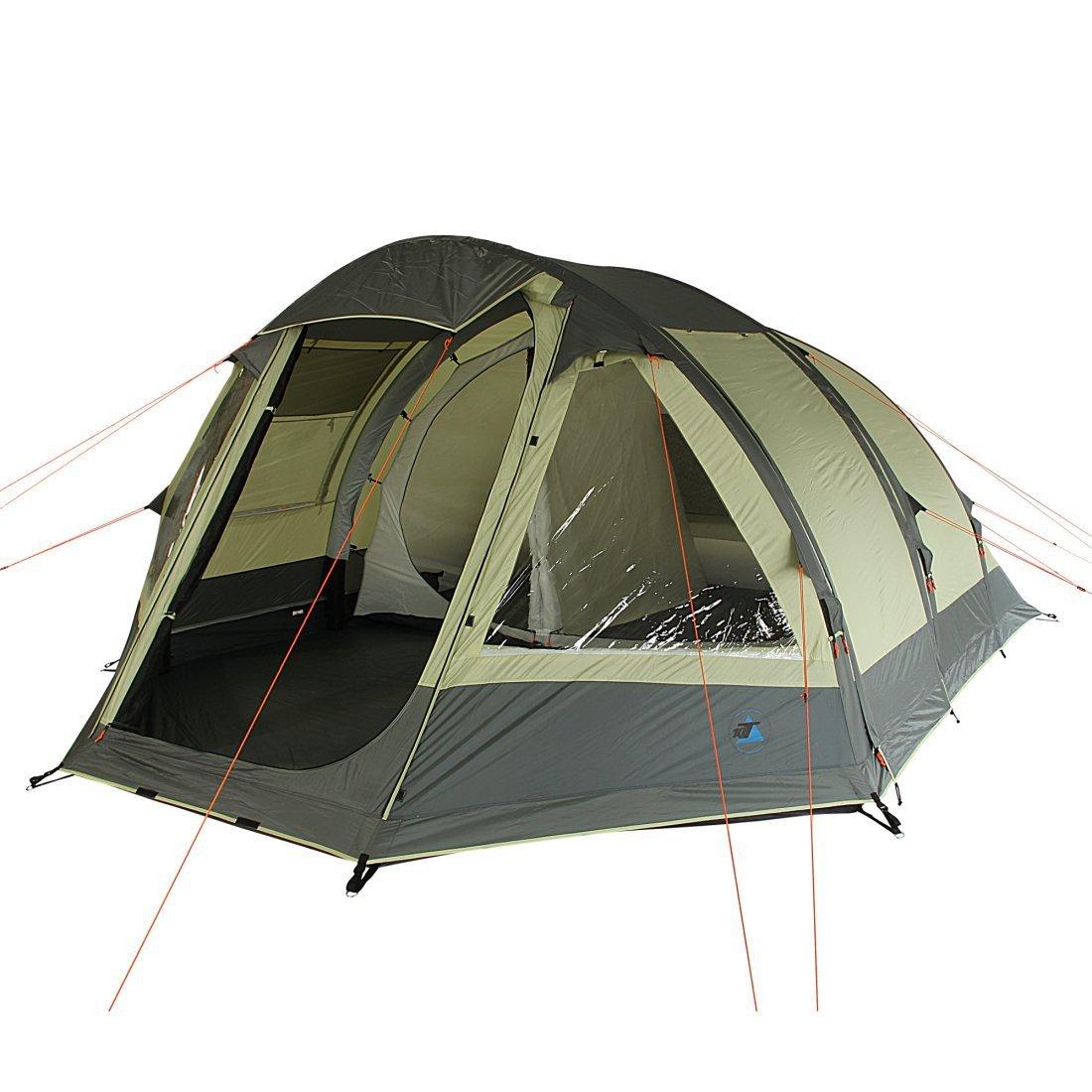 10T Camping-Zelt Uranus 5 aufblasbares AirTube Tunnelzelt mit Schlafkabine für 5 Personen Outdoor Familienzelt mit Wohnraum, eingenähte Bodenwanne, wasserdicht mit 5000mm Wassersäule inkl. Pumpe