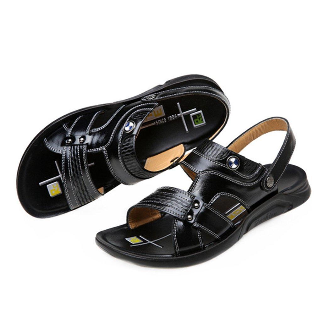 ASO-SLING Mens Leather Flat Sandbeach Sandals Casual Slipper Open Toe Buckle Strap