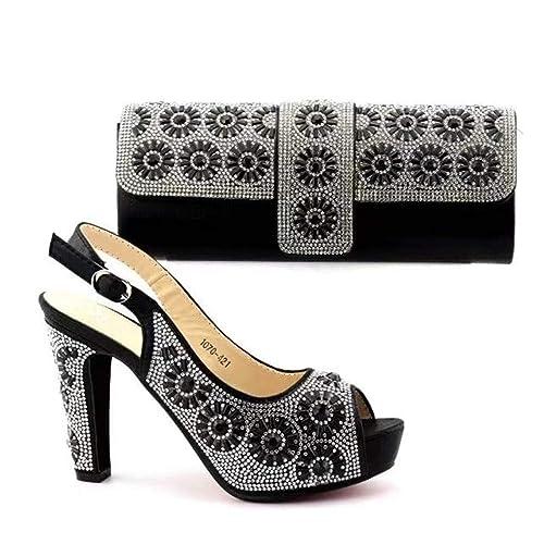 Amazon.com: Juego de zapatos y bolsa de plata a juego en ...