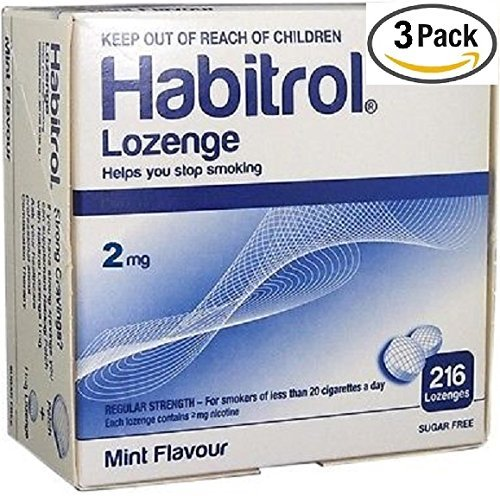 Habitrol Nicotine Lozenge 2mg Mint Flavor. 3 packs of 216 Lozenges (total 648)