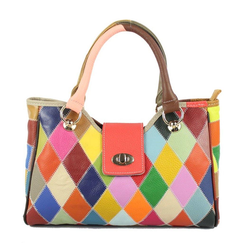 JIANFCR Dame-Taschen-Mode-Gitter-Schulter-Beutel-Nähende Bunte Farben-Leder-Handtaschen, mit Langen Schulter-Bügeln, Kann Schräg, Arbeit/Einkaufen/Partei/Tagesgebrauch Sein