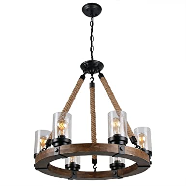 Anmytek Round Wooden Chandelier with Seeded Glass Shade Rope and Metal Pendant Six Lights Decorative Lighting Fixture Retro Rustic Antique Ceiling Lamp