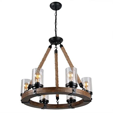 Anmytek Round Wooden Chandelier with Seeds Glass Shade Rope and ...