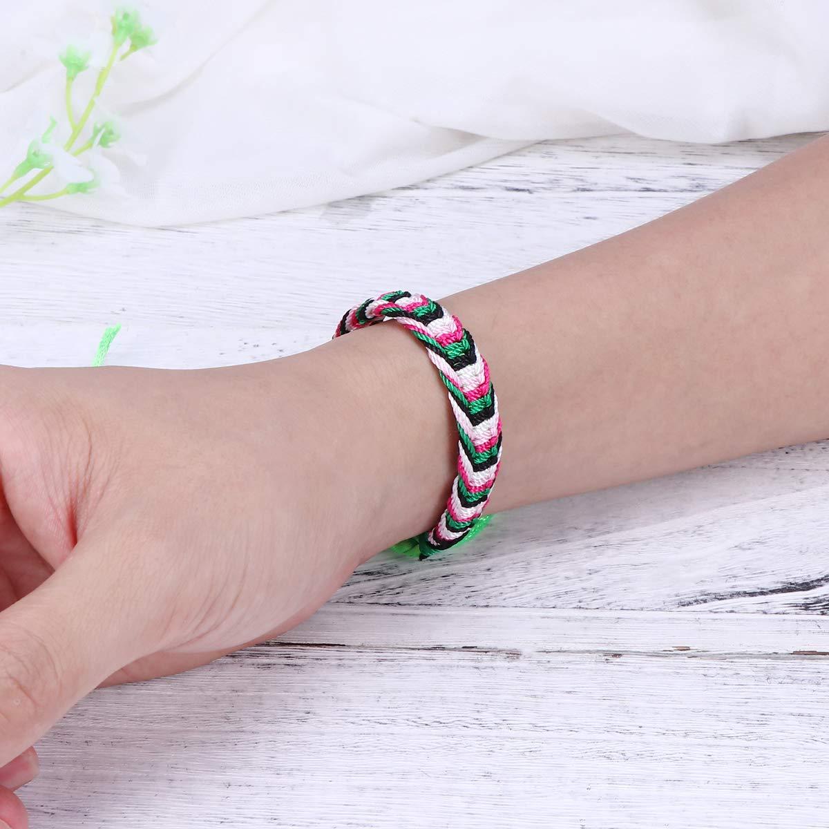 Toyvian DIY Weave Armband Bunte Gewinde Armband Handwerk Machen Einstellbar f/ür Kinder Geburtstag Party Favors 12 st/ücke Zuf/ällige Farbe