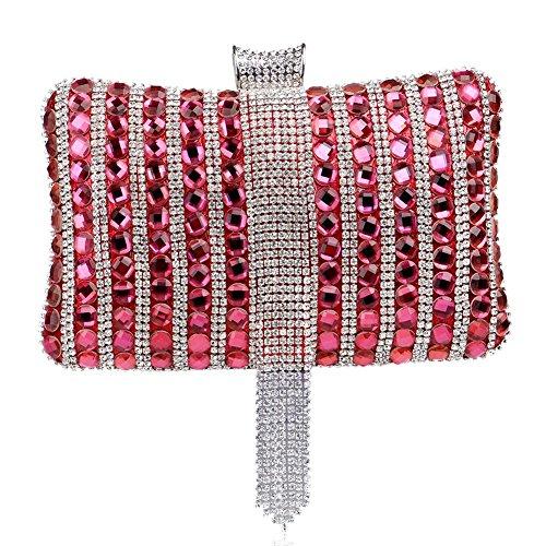 main sac cristal de x soirée aux dîner bourse sac diamant 12 x cm 6 femmes fête gland 5 mariage à red 20 qAnwOnBC