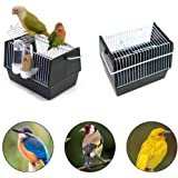 "Outdoor Portable Bird Carrier with Drinking and Feeder Bowl, Lightweight Bird Travel Cage for Parrot Canary Parakeet Cockatiel Lovebird, 8.26"" x 5.1"" x 5.1"", Black"