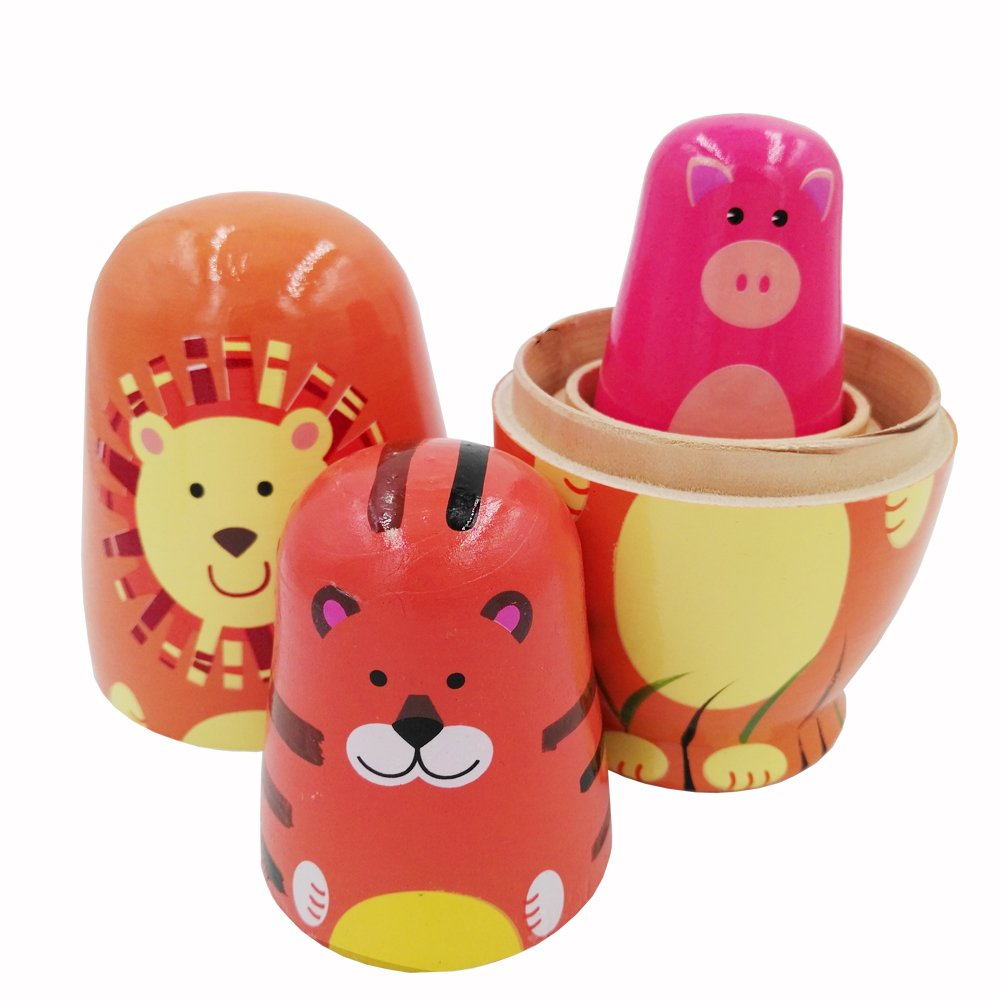 Echodo 5pcs Handmade Animal Nesting Dolls Authentic Russian Wooden Matryoshka Dolls Cute Cartoon Animals Pattern Nesting Doll Toy Gift by Echodo (Image #3)