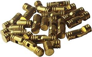 RZDEAL 20pcs Mini Brass Cylindrical Barrel Hinges Butt Hinges for Dollhouse Miniature Furniture Cabinet Closet Box (4mm x 20mm)