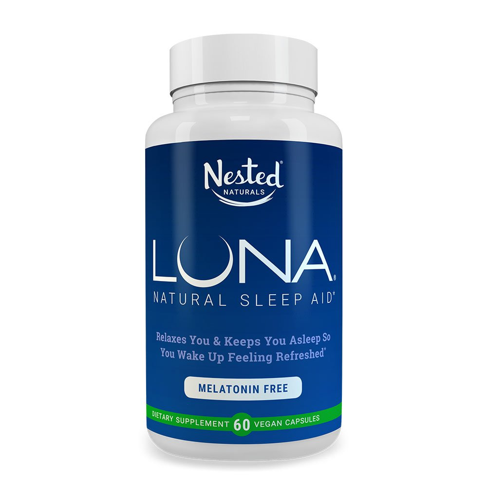LUNA Melatonin-Free | 60 Herbal Capsules | Non Habit Forming Sleep Formula with Valerian Root, L-Theanine, Chamomile Extract | Natural Sleeping Aid | Relax & Calm Stress | Herbs Based Supplement Pills B074XHY9WG