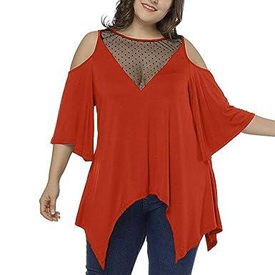 77dc0b6e83c309 Sontefz Women s Cold Shoulder Plus Size Mesh Sexy T Shirt Asymmetric Long  Top Tunic Blouse (