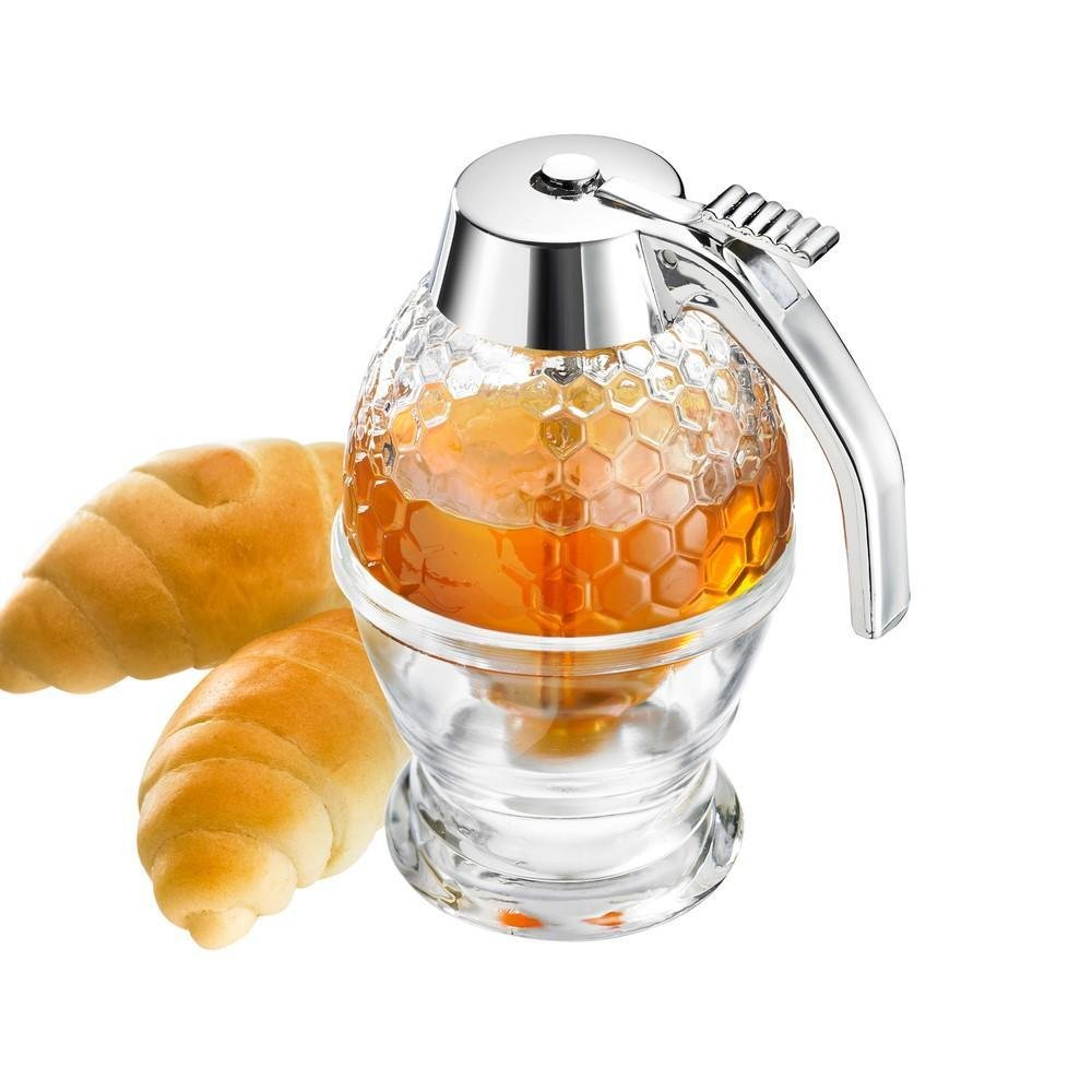 Honey Dispenser with Storage Stand, 200ML Syrup Dispenser Jar Container Acrylic Storage Pot- Shatter Proof & BPA Free,No Drip, Moderate Flow, 8Oz