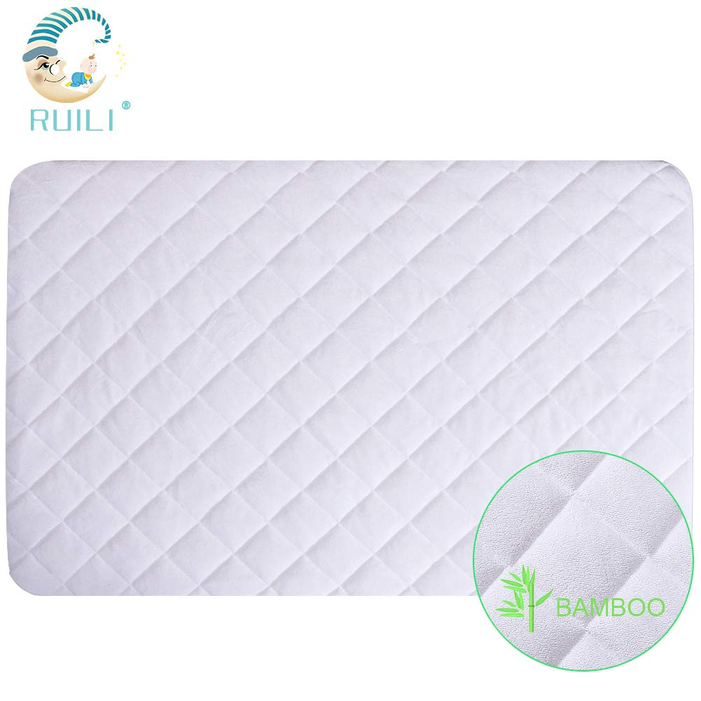 100% Waterproof Mini Size Quilted Fitted Crib Mattress Protector,Soft Breathable Organic Bamboo Baby Waterproof Mattress Pad,Natural Vinyl Free Crib Mattress Cover for Stains Proof by Ruili
