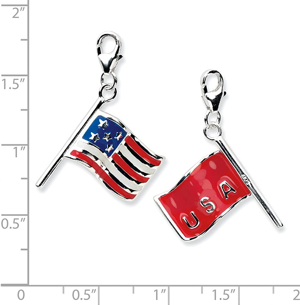 Big Sur Elegance Sterling Silver 3-D Enameled American Flag with Lobster Clasp Charm