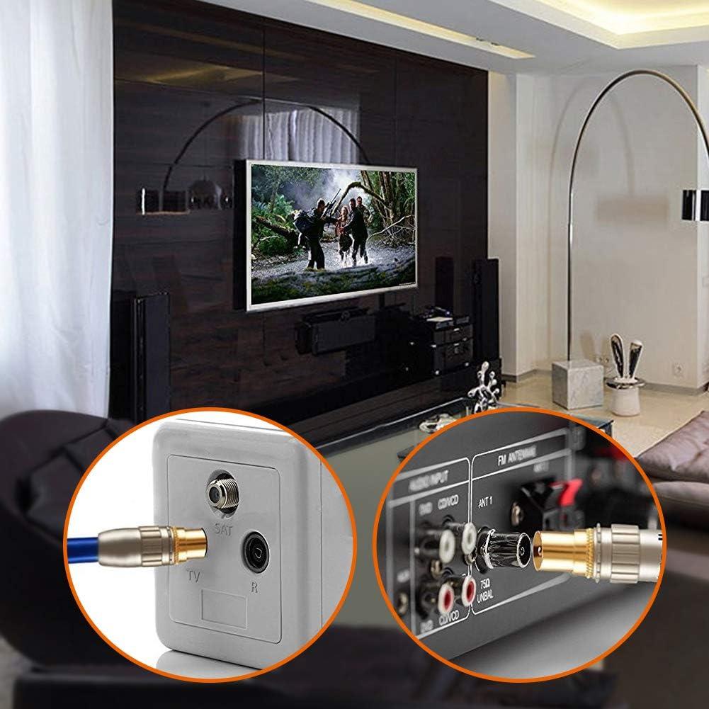 5 Hembra y 5 Machos Conector de Antena para RF Cable Coaxial XCOZU 10 Piezas TV Adaptador de Antena Coaxial Adaptador Cable de Antena Conector F Hombre a Mujer