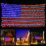#LightningDeal 78% claimed: xtf2015 Led Flag Net Lights of The United States, Waterproof American Flag Light For Festival, Holiday, Independence Day, 4th of July, Memorial Day, Decoration, Garden, Yard, Fence, Indoor And Outdoor