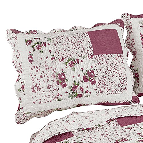 Collections Etc Hadley Floral Patchwork Quilted Pillow