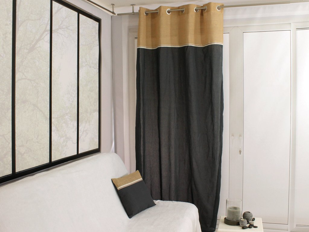 785e680a702 Soleil d  Ocre Jute Bi-Material with Cotton Eyelet Curtain 140 x 240 cm  Grey  Amazon.co.uk  Kitchen   Home