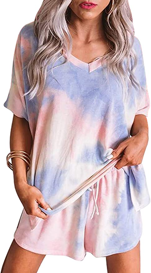 Sidefeel Women Tie Dye Printed Sleepwear Lounge Short Sleeve Pajama Set Night Shirt with Shorts