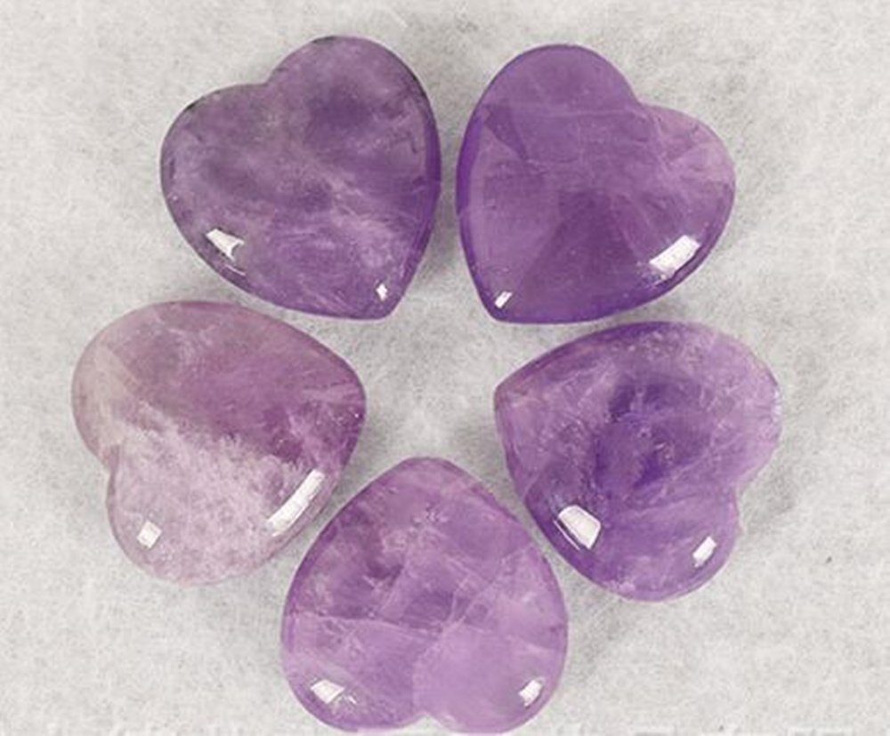 Natural Amethyst Gemstone Healing Crystal Puff Heart Love Worry Fengshui Stone Chakra Reiki Balancing Massage and Decoration