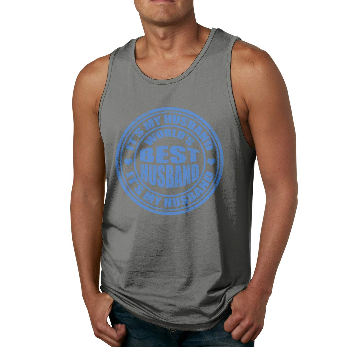 Mans Cotton Pure Color O-Neck Worlds Best Husband Gym Vest T Shirts