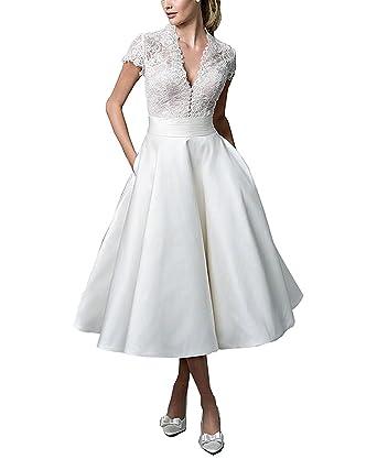 AbaoWedding Women\'s V-Neck Sheer Back Tea-Length Elegant Wedding ...