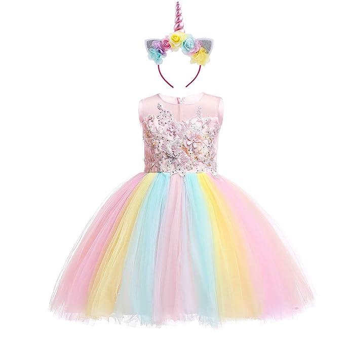 Unicornio Vestido de Princesa Flor Partido Disfraces para Niñas Carnaval Traje Halloween Fiesta Cosplay Elegantes Cumpleaños Pageant Comunión ...