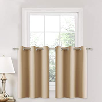 NICETOWN Small Kitchen Windows Curtains - Blackout Functional Thermal  Insulated Window Treatment Curtains/Drapes/Valances (Biscotti Beige, 2  Panels, ...