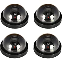JOOAN Fake/Dummy Dome Security Camera Hemisphere Type Home/Store Surviellance Equipment with Twinkle Red Led (4pcs)