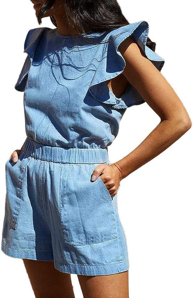 JERFER Jumpsuit Donna Rompers Overall Pantaloncini Tuta in Jersey di Jeans Senza Maniche con Tasche Arruffate